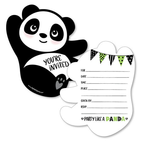 Party Like a Panda Bear - Shaped Fill-In Invitations - Baby Shower or Birthday Party Invitation - 12 Ct](Panda Bear Party Supplies)