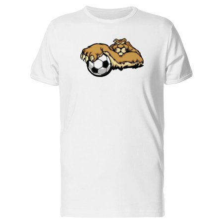 Cougar Mascot With Soccer Ball Tee Men's -Image by