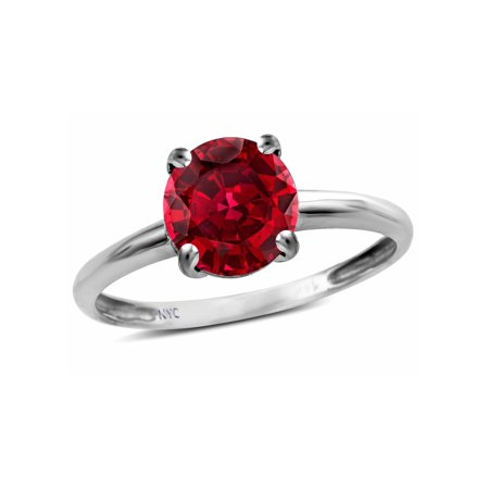 - Star K Created Ruby Round 7mm Classic Solitaire Engagement Promise Ring
