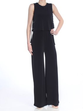 MICHAEL KORS Womens Black Tie Jewel Neck Straight leg Wear To Work Jumpsuit  Size: XS