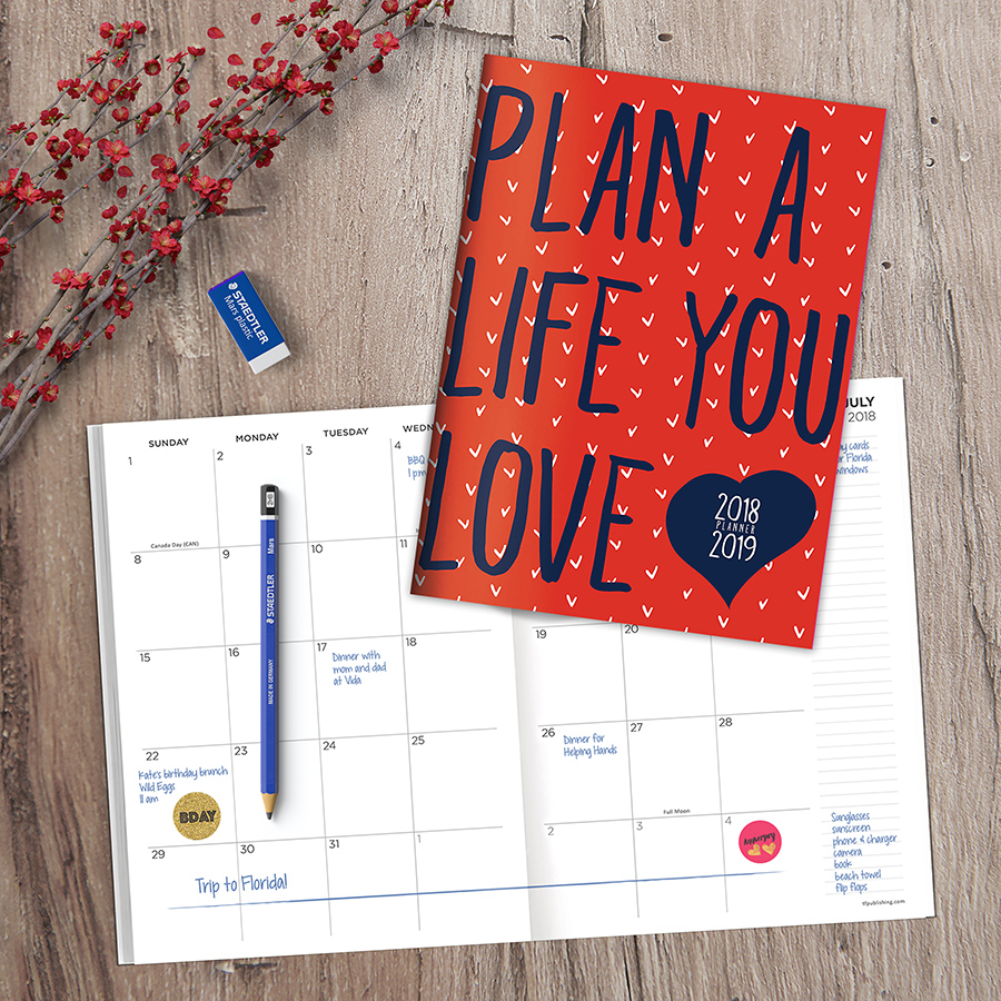 """2019 Plan the Life You Love July 2018 - June 2019 Academic Year 10.25""""x7.5"""" Monthly Planner"""
