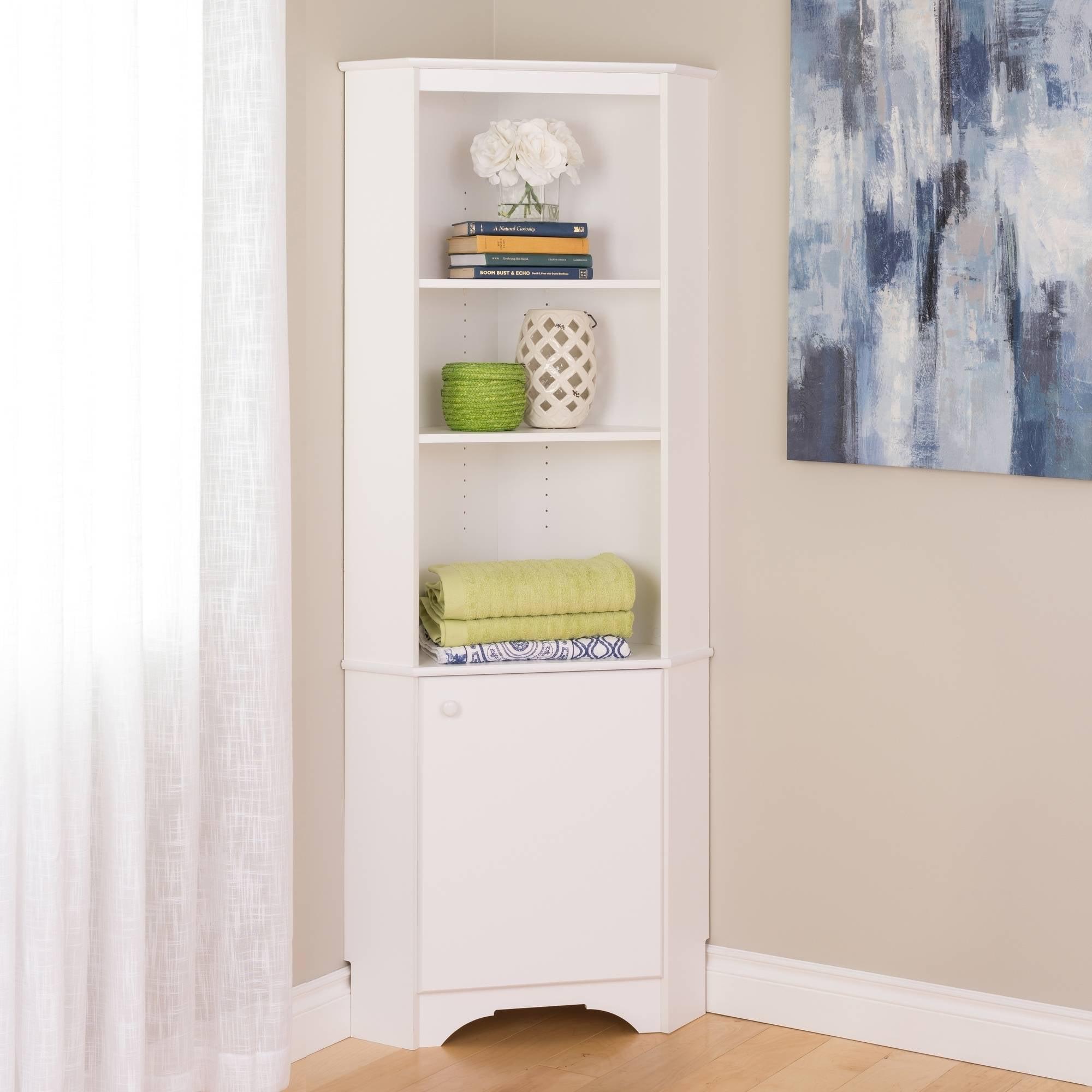 Elite Tall 1 Door Corner Storage Cabinet White Walmart Com