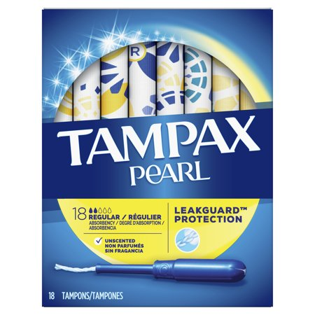 TAMPAX Pearl, Regular, Plastic Tampons, Unscented, 18 Count