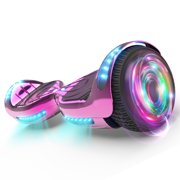 """Flash Wheel Certified Hoverboard 6.5"""" Bluetooth Speaker with LED Light Self Balancing Wheel Electric Scooter - Chrome Pink"""