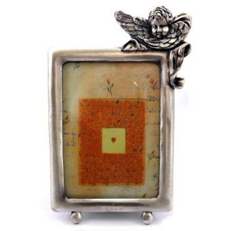Pewter picture frame with an angel leaning over the top right corner PF89 - Angel Photo Frames