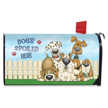Weather Vinyl Mailbox Cover - Dogs Spoiled Here Spring Magnetic Mailbox Cover Humor Puppies Standard