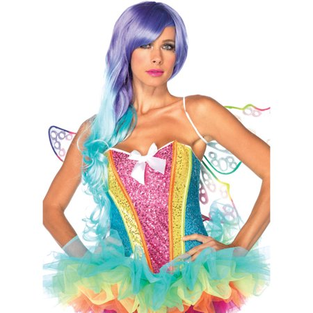 Leg Avenue Rainbow Sequin Corset Adult Halloween Costume](Rainbow Loom Halloween Black Cat)