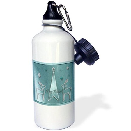 - 3dRose Reindeer on Blue Happy Holidays, Sports Water Bottle, 21oz