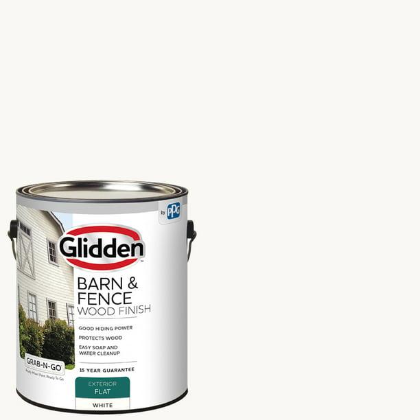 Glidden Barn Fence Wood Finish Exterior Paint White 1 Gallon Flat Walmart Com Walmart Com
