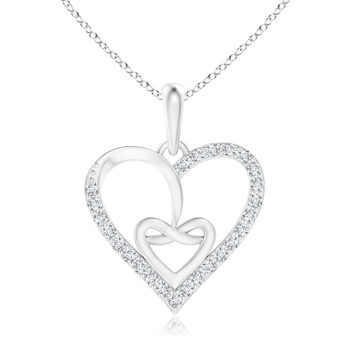 April Birthstone Pendant Necklaces Entwined Diamond Ribbon Heart Pendant in Platinum (1mm Diamond) SP1126D-PT-GVS2-1 by Angara.com