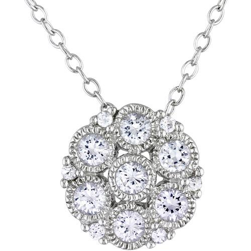 "Miabella 3/4 Carat T.G.W. Created White Sapphire Sterling Silver Flower Pendant, 18"""