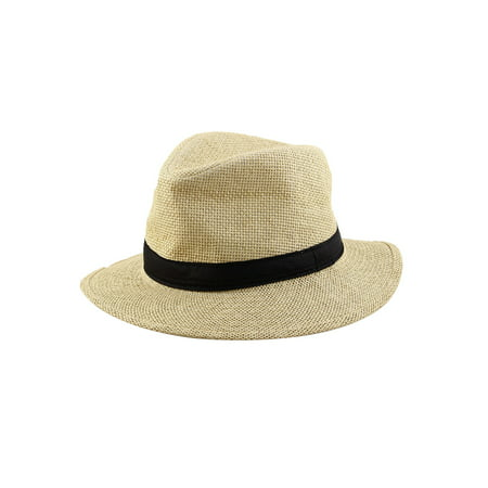 Men Summer Straw Braided Wide Brim Western Style Beach Sunhat Cowboy Hat Distressed Straw Cowboy Hat