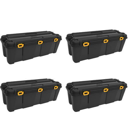 Ezy Storage Bunker 130 Liter Heavy Duty Garage Storage Container Tub (4 Pack) Heavy Duty Containers