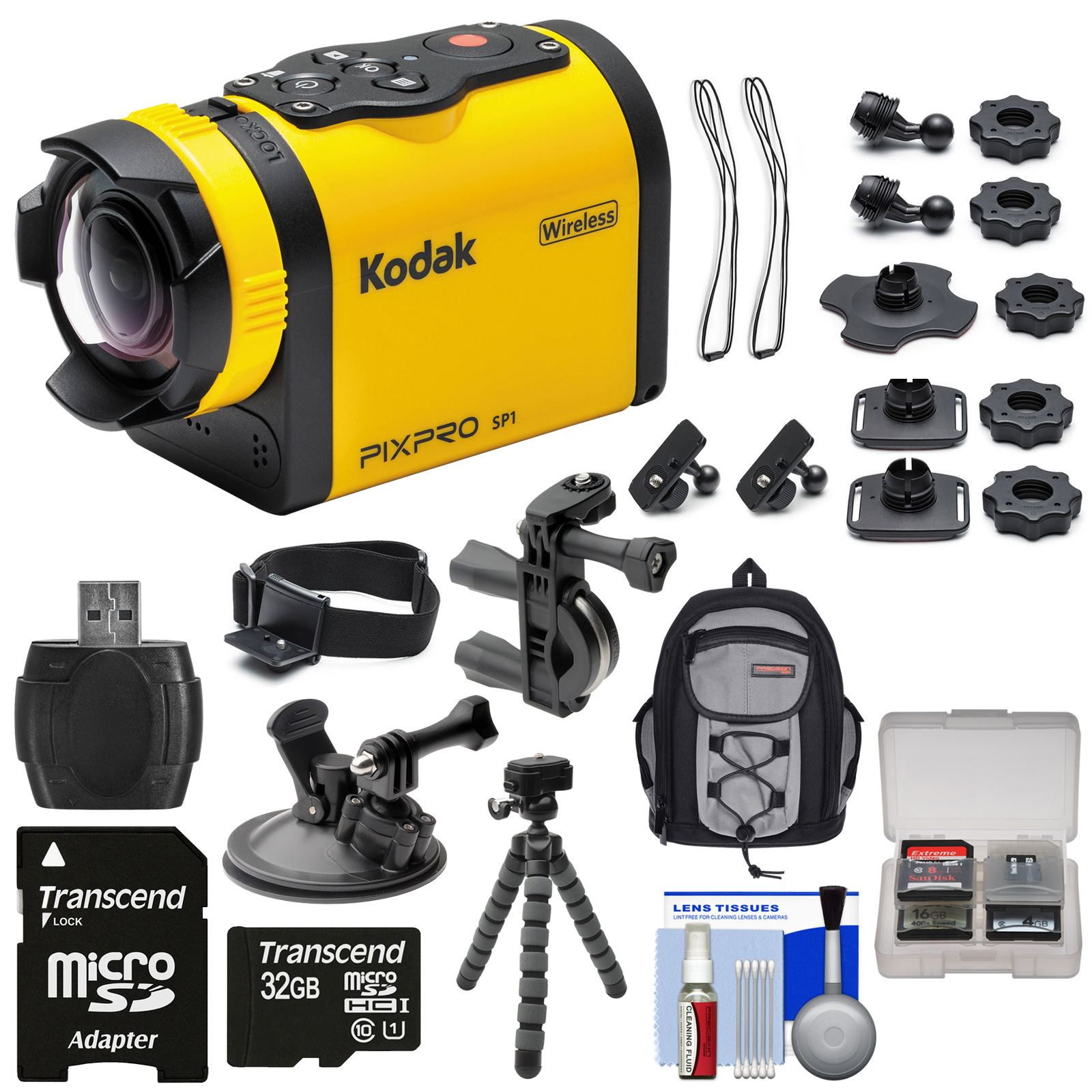 Kodak PixPro SP1 Video Action Camera Camcorder - Aqua Sport Pack with Handlebar & Suction Cup Mounts + 32GB Card + Backpack + Tripod + Kit PixPro SP1