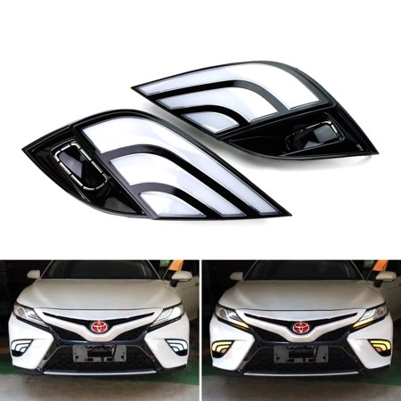 Vip Signal Light - iJDMTOY JDM Style White/Amber Switchback LED Daytime Running Lights w/Sequential Turn Signal Feature For 2018-up Toyota Camry SE or XSE Models