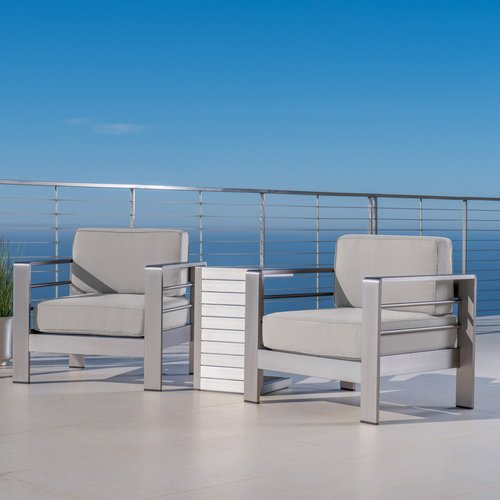 Brayden Studio West Adams Outdoor 3 Piece Sunbrella Conversation Set with Cushions