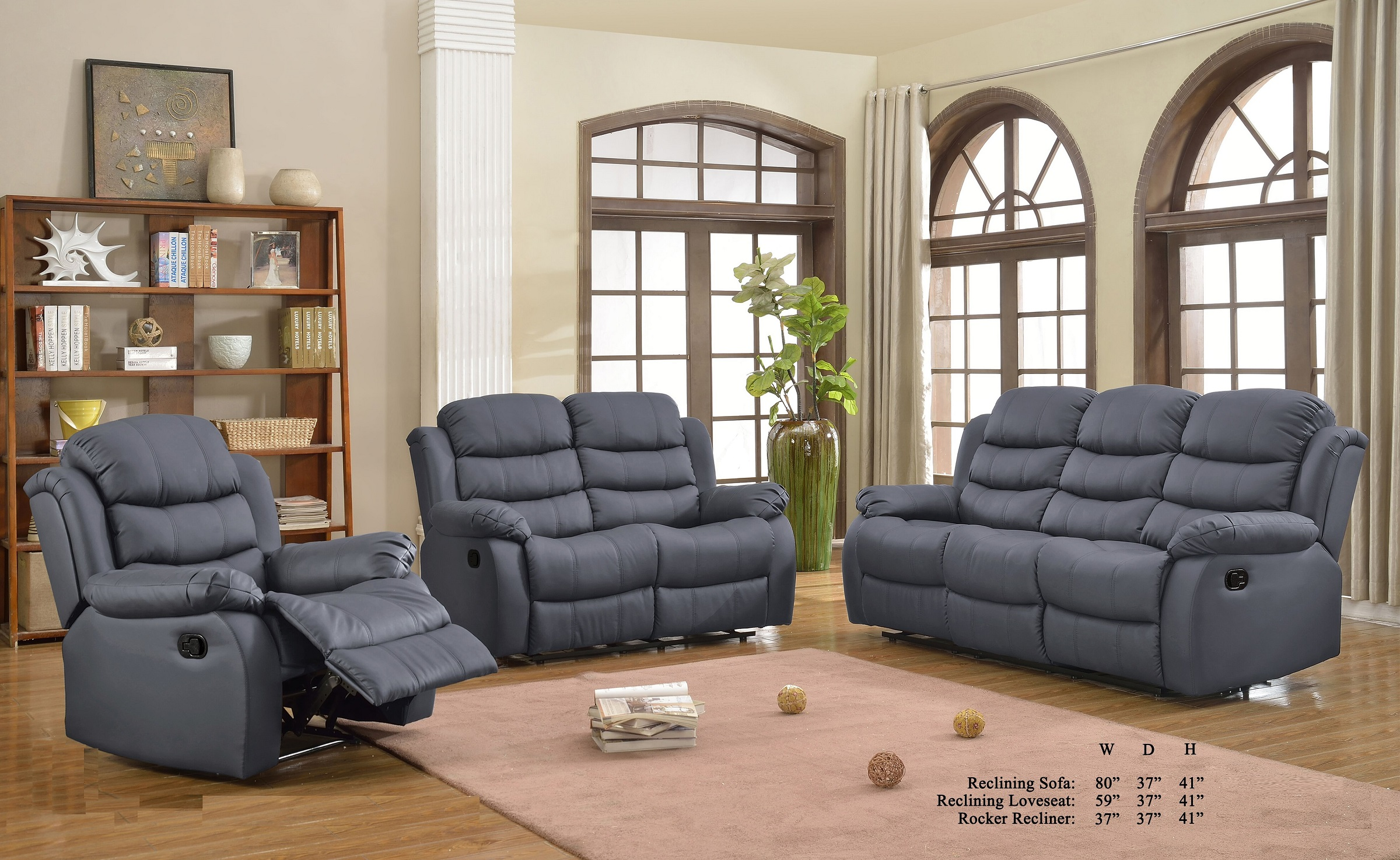Gray Color Plush Comfort Bonded Leather 3pc Sofa Set Cushion Sofa Loveseat  And Chair Living Room Furniture