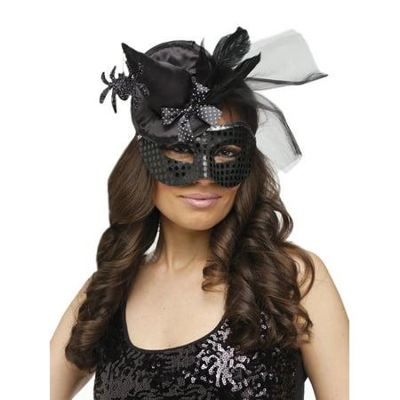 Fun World Sexy Rich Witch Masquerade Venetian Mask, Black, One-Size