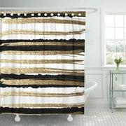 CYNLON Futuristic Drawn by Brush Gold Paints and Black Ink Bathroom Decor Bath Shower Curtain 60x72 inch