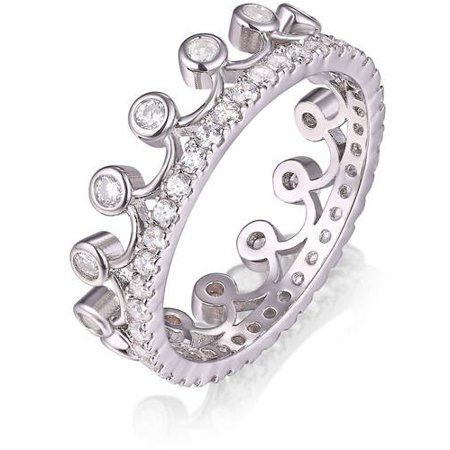 18k White Gold-Tone Princess Crown Ring With Swarovski Crystals Woven Crystal Beaded Ring
