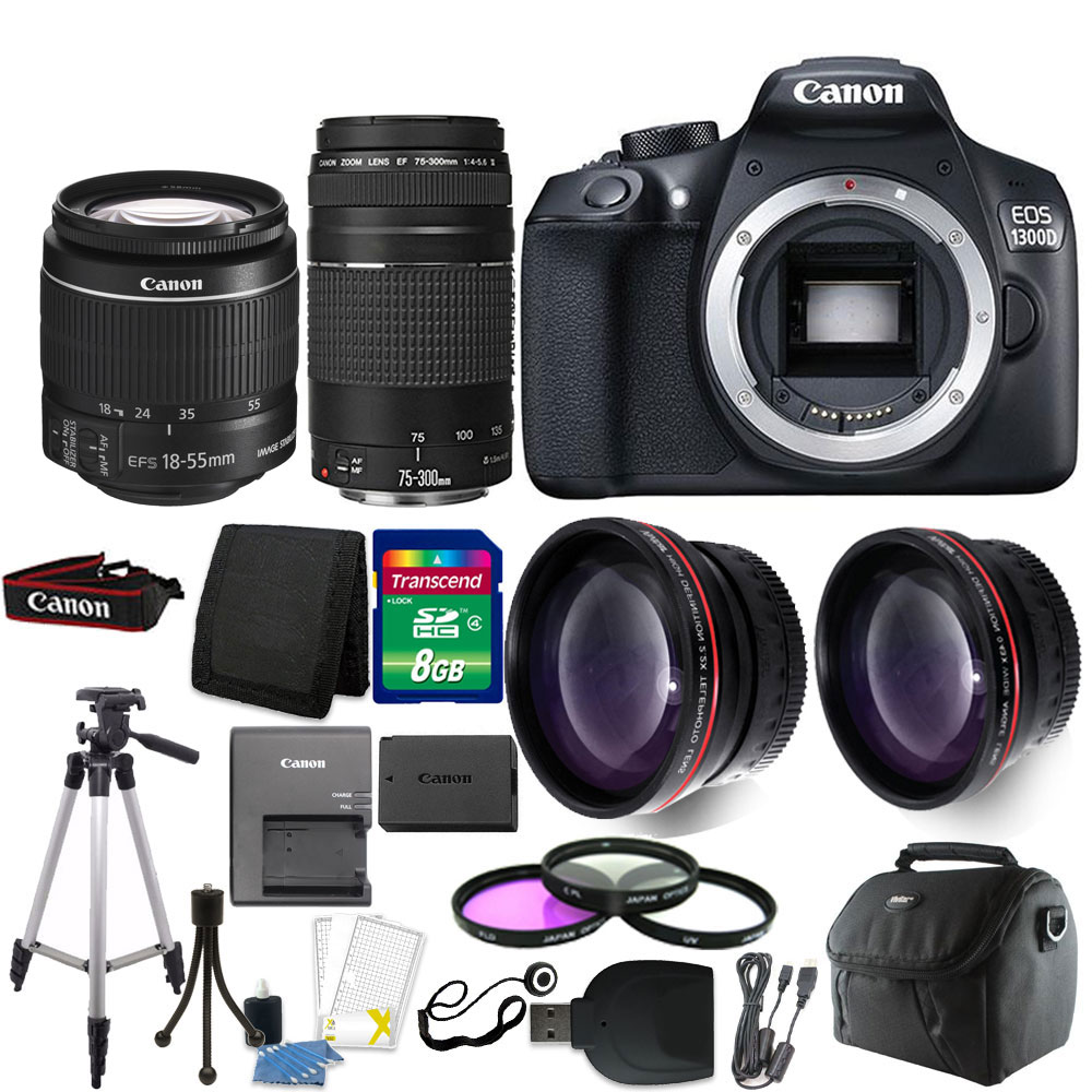 Canon EOS 1300D/T6 18MP DSLR Camera + 18-55mm + 75-300mm Lens +
