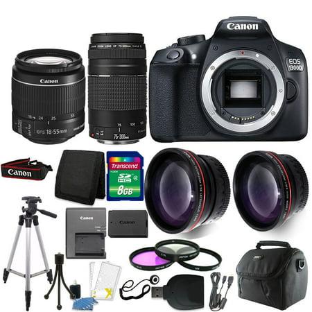 Canon EOS 1300D/T6 18MP DSLR Camera + 18-55mm + 75-300mm Lens + Accessory Kit (Canon 3d)