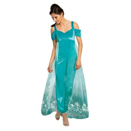 Jasmine Costumes For Adults (Sheer Green Jasmine Deluxe Women Adult Halloween Costume -)