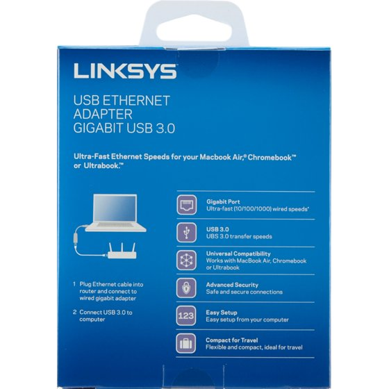 Linksys USB 3.0 Ethernet Adapter, Works with MacBook Air, Chromebook ...