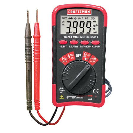 Pocket Multimeter (Craftsman Mini Pocket Multimeter with Auto Ranging Digital Display AC DC Tester Test Leads Electrician Measuring Tool with Storage Case)