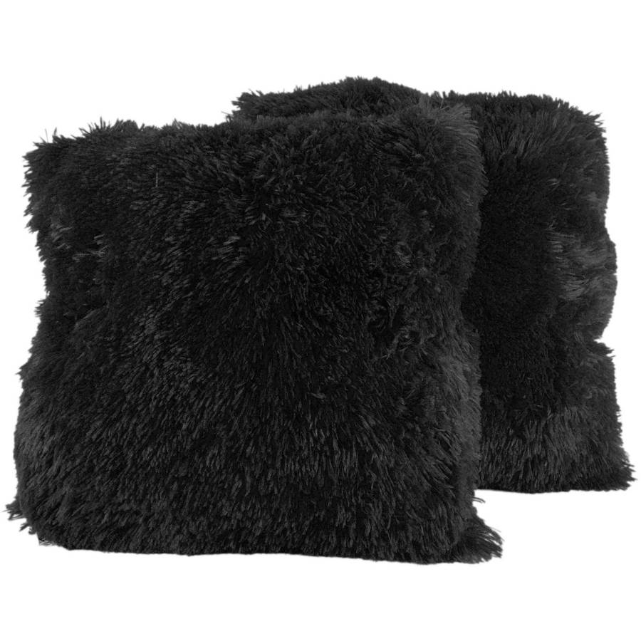 "Very Soft and Comfy Plush Long Faux Fur 18"" x 18"" Throw Pillows, 2-Pack"