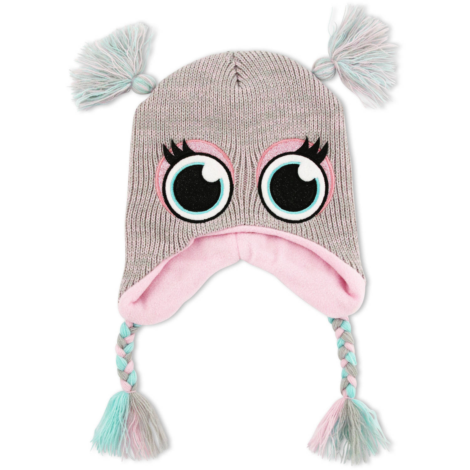 Image of ABG Silver Critter double pom Scandinavian knit hat with pom tassels.