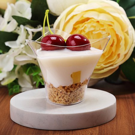 BalsaCircle Clear 12 pcs 4 oz Plastic Triangular Dessert Cups - Wedding Reception Party Buffet Catering