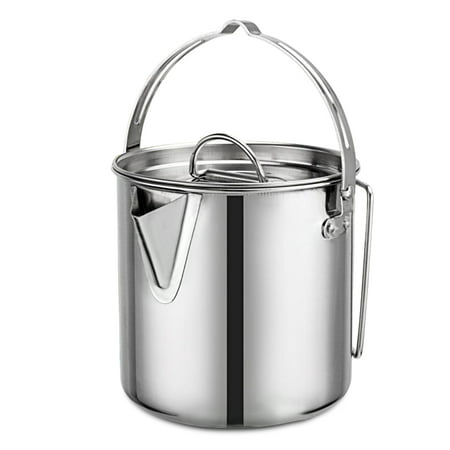1.2L Outdoor Hanging Pot Stainless Steel Camp Cup Camping Soup Coffee Pot Foldable Handle Water Kettle with Cover