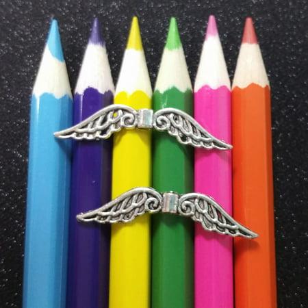 10 PCS - Filigree Wings Angel Fairy Bead Spacer Silver Charm Pendant - Filigree Charm