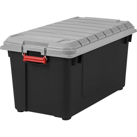IRIS 87 Qt. WEATHERTIGHT Store-It-All Plastic Storage Tote, Black