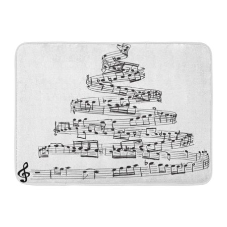 SIDONKU Song Christmas Tree from Music Notes Sheet Draw Xmas Sketch Symphony Doormat Floor Rug Bath Mat 23.6x15.7 inch ()