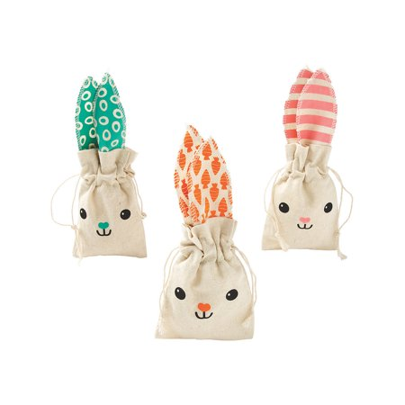 Fun Express - Easter Bunny Fabric Treat Bags for Easter - Party Supplies - Bags - Fabric & Textile Bags - Easter - 12 Pieces - Fun Ideas For Halloween Treat Bags