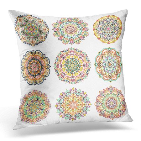ARHOME Mandala Round Colorful Patterns Floral Flower Chakra Symbol for Meditation Yoga Complex Flourish Weave Pillow Cover 16x16 Inches Throw Pillow Case Cushion