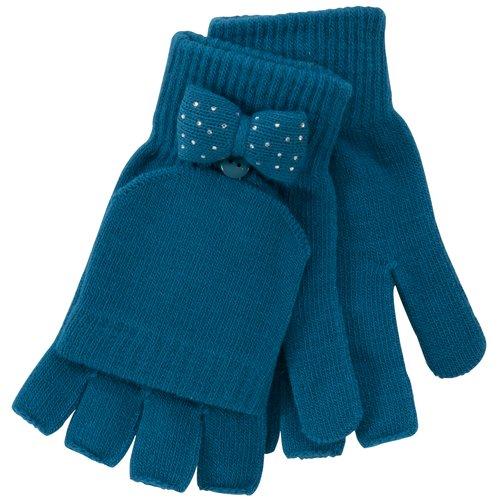 No Boundaries Rhinestone Bow Poptop Gloves, Turquoise