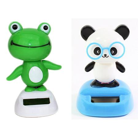 Dancing Fun Panda and Light Green Frog Animal Solar Powered Toys Office Desk Home Decor (Solar Dancing Toys)