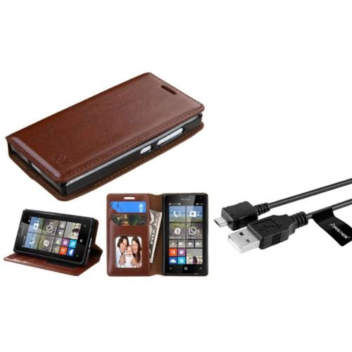 Insten Book-Style Leather Wallet Case with stand For Microsoft lumia 435 - Brown (with USB Cable)
