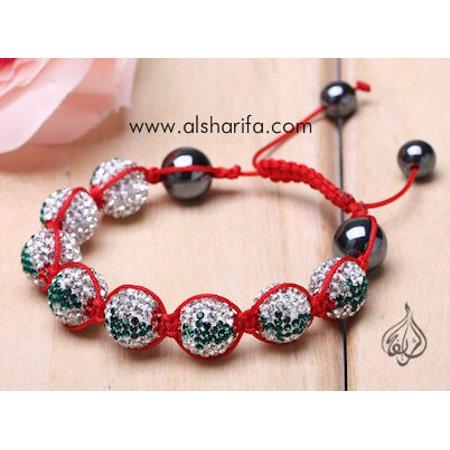 Rare Christmas Friendship Bracelet, AUSTRIAN Crystals | Shamballa | Lebanon Flag | Light Weight