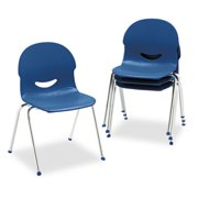 "Virco Iq Series Stack Chair, 17-1 2"" Seat Height, Navy chrome, 4 carton by VIRCO, INC."