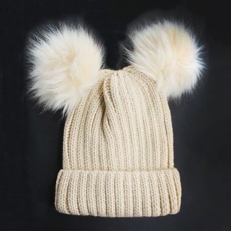 Crimson Pom Pom - Chunky Knit Beanie Hat with Double Faux Fur Pom Pom Ears