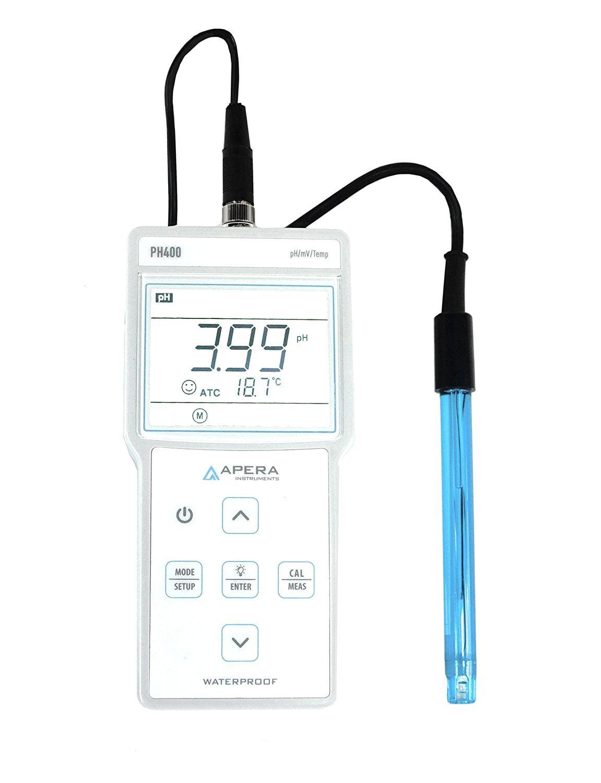 Apera Instruments PH400 Portable pH Meter Kit, 0.01 pH Accuracy, 0-14.00 pH Measuring Range, 3ft Probe,... by
