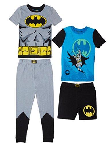 Komar Kids Boys 4 Piece Cotton Pajamas Sleepwear Set with Shorts and Pants (3T, Batman Grey)