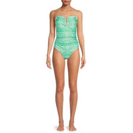 Catherine Malandrino Women's V-Neck Convertible Strap One-Piece Swimsuit