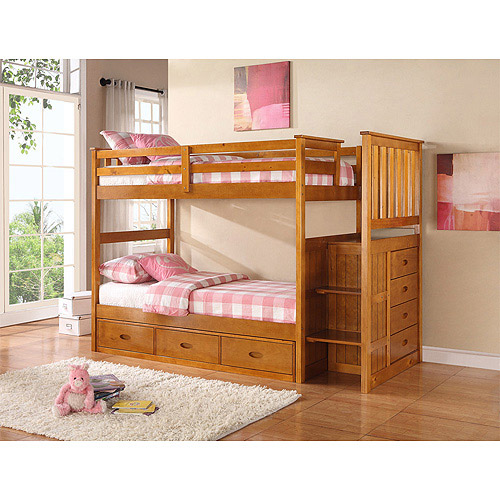 Boraam Twin Over Twin Bunk Bed With Guardrail And Trundle Storage Drawer,  Fruitwood
