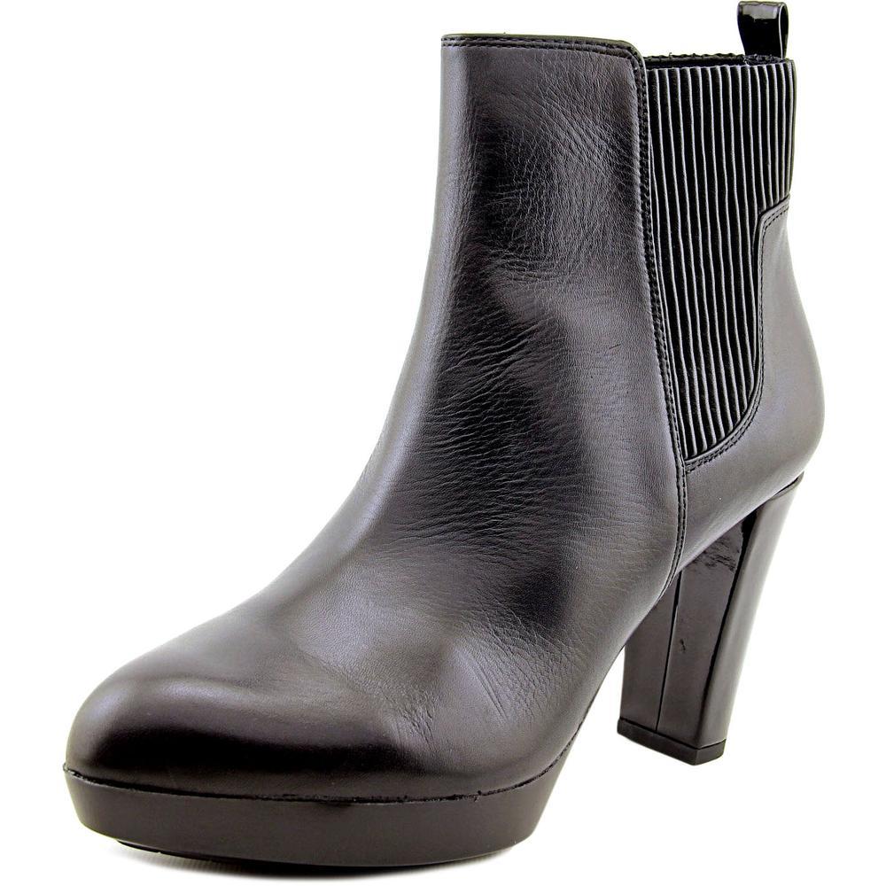 Donald J Pliner Edina Women Round Toe Leather Black Ankle Boot by Donald J Pliner