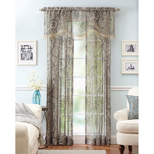 Better Homes And Gardens Paisley Faux Linen Curtain Panels, Set Of 2, With  Valance   Walmart.com
